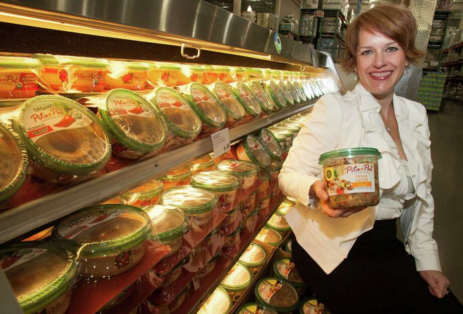 Melissa Navon, founder of Mediterranean food products company Pita Pal Industries, says her products include Texas caviar, hummus, baba ghanoush, tabbouleh, falafel, pita bread and salsa. Texas caviar is black-eyed pea salad. Photo: J. Patric Schneider / © 2012 Houston Chronicle