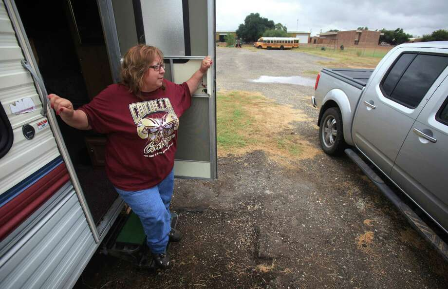 The tight housing market has educators like Mary Mendietta, who teaches architectural construction at Cotulla High, living in mobile homes parked on school district property. Photo: Bob Owen, San Antonio Express-News / © 2012 San Antonio Express-News