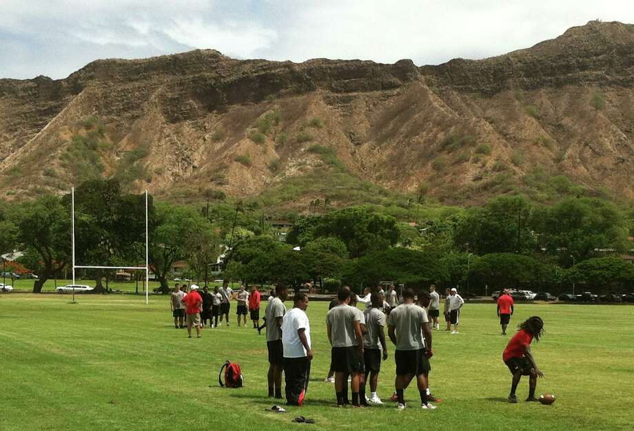 Lamar football holds a walk-through practice Friday to prepare for the game Saturday night at Hawaii. Courtesy of Lamar sports information.