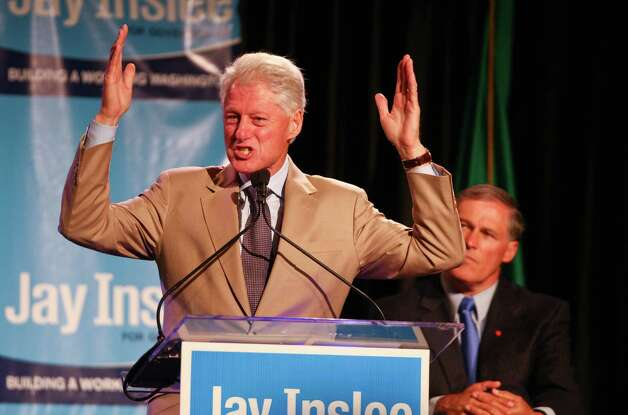 Former President Bill Clinton speaks with conviction as he promotes Democratic gubernatorial candidate Jay Inslee during a campaign fundraiser at the Washington State Convention Center on Saturday, September 15, 2012. The event, described by speakers as one of the largest political gatherings Seattle has seen, brought in roughly $750,000 and about 3,000 people. Photo: LINDSEY WASSON / SEATTLEPI.COM
