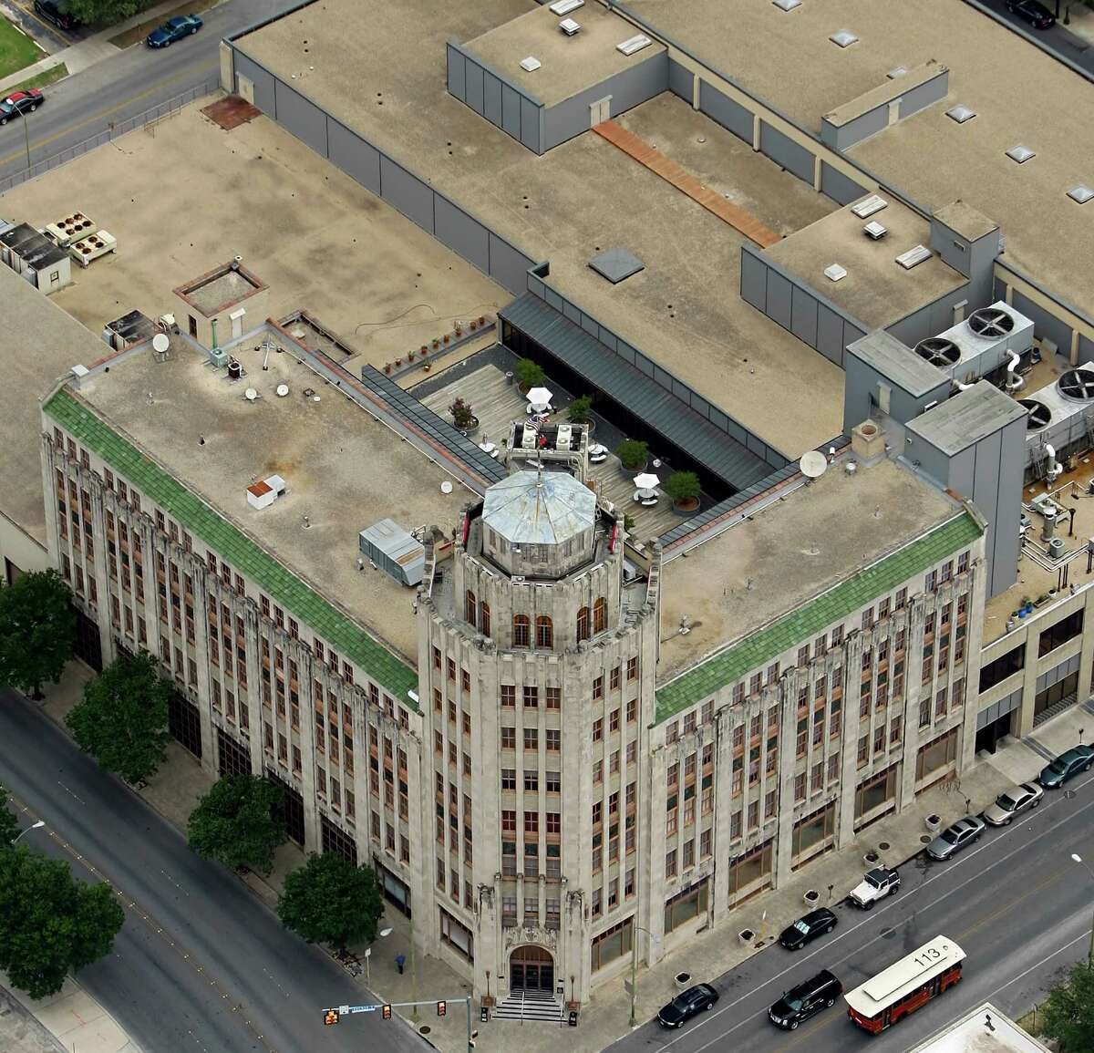 The San Antonio Express-News building is seen in this Friday July 1, 2011 aerial picture.