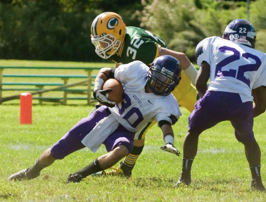 Trinity Catholic High School hosts Westhill in a football game Saturday, Sept. 15, 2012. Trinity won the game, 28-10. Photo: Keelin Daly / Stamford Advocate Freelance