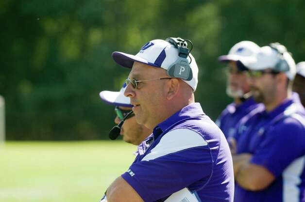 Westhill football Coach Frank Marcucio watches as Trinity Catholic High School hosts Westhill in a football game Saturday, Sept. 15, 2012. Trinity won 28-10. Photo: Keelin Daly / Stamford Advocate Freelance