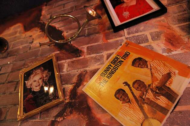 Memorabilia of two of the big names who got their start at the Purple Onion: Phyllis Diller and the Kingston Trio. Photo: Carlos Avila Gonzalez, The Chronicle