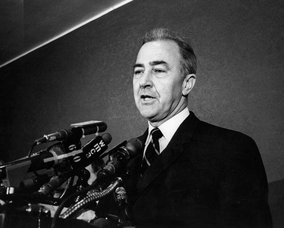 – Sen. Eugene McCarthy:  The Minnesota senator who challenged President Lyndon Johnson and the Vietnam War had a way of putting it on the line without raising his voice.  McCarthy got away with saying he would fire FBI director J. Edgar Hoover.  Asked what he would do about marijuana, he told an audience in conservative Indiana:  I'd put a warning on the package. Photo: Lisl Steiner, Getty Images / Hulton Archive