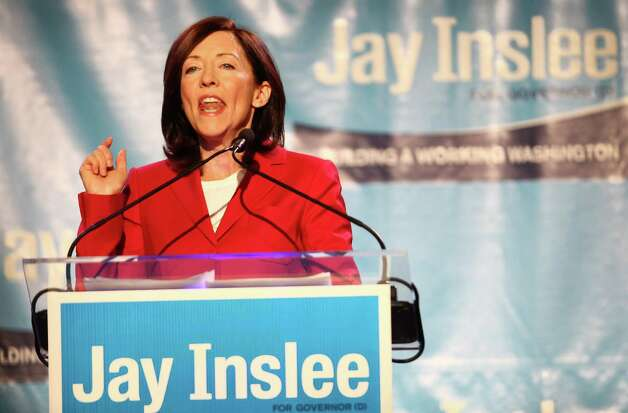 State Senator Maria Cantwell makes an appearance at a campaign fundraiser for Democratic gubernatorial candidate Jay Inslee at the Washington State Convention Center on Saturday, September 15, 2012. The event, which featured former President Bill Clinton, was described by speakers as one of the largest political gatherings Seattle has seen, brought in roughly $750,000 and about 3,000 people. Photo: LINDSEY WASSON / SEATTLEPI.COM
