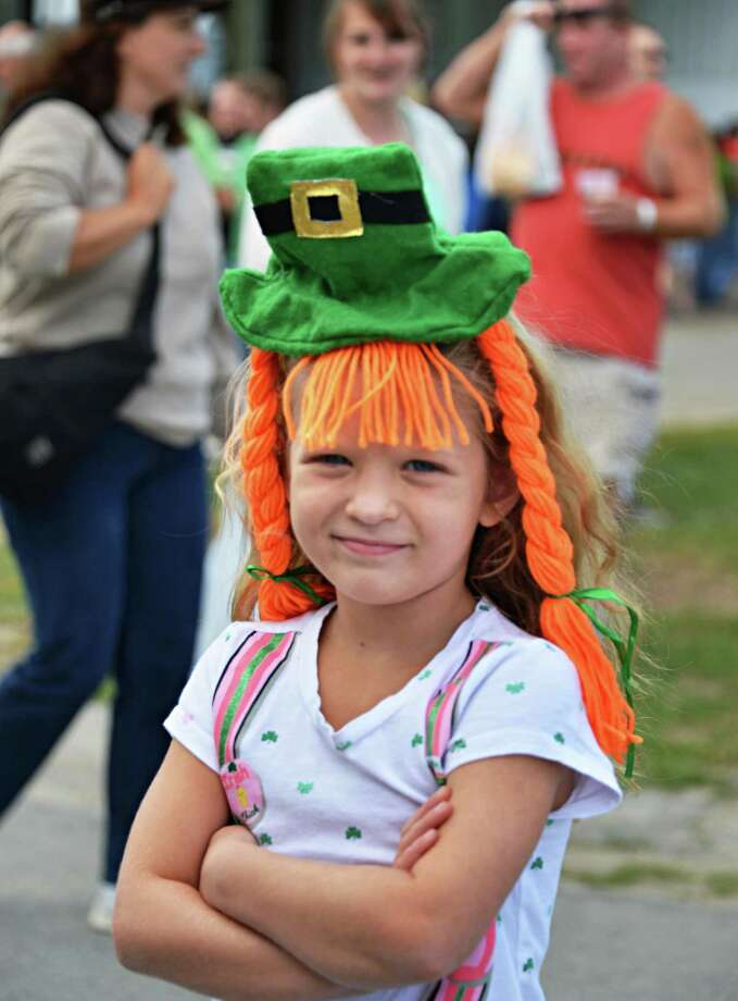 Katrina Momrow of Ballston Lake poses wearing her Irish hat at the16th Annual Irish 2000 Music & Arts Festival at Saratoga County Fairgrounds in Ballston Spa Saturday Sept. 15, 2012.  (John Carl D'Annibale / Times Union) Photo: John Carl D'Annibale / 00019239A
