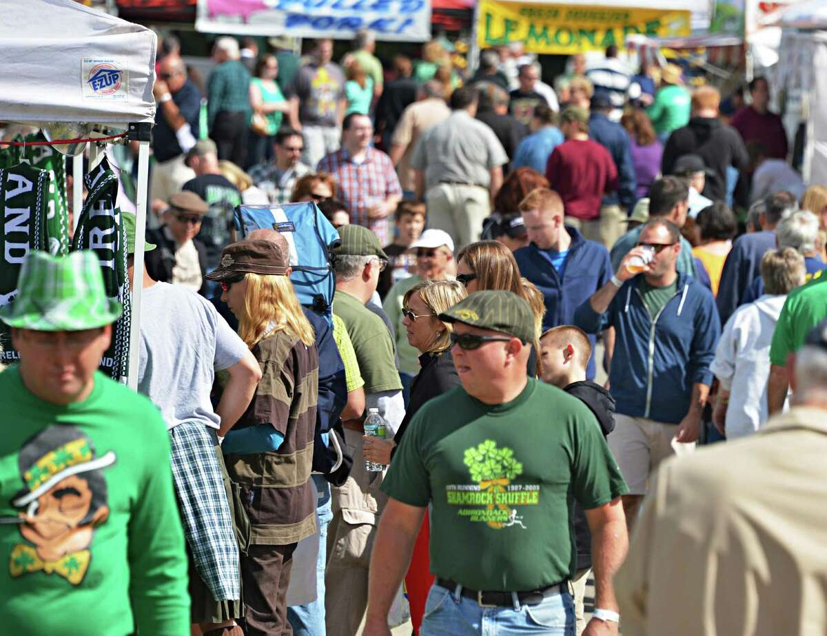 Festival goers on the midway at the16th Annual Irish 2000 Music & Arts Festival at Saratoga County Fairgrounds in Ballston Spa Saturday Sept. 15, 2012. (John Carl D'Annibale / Times Union)