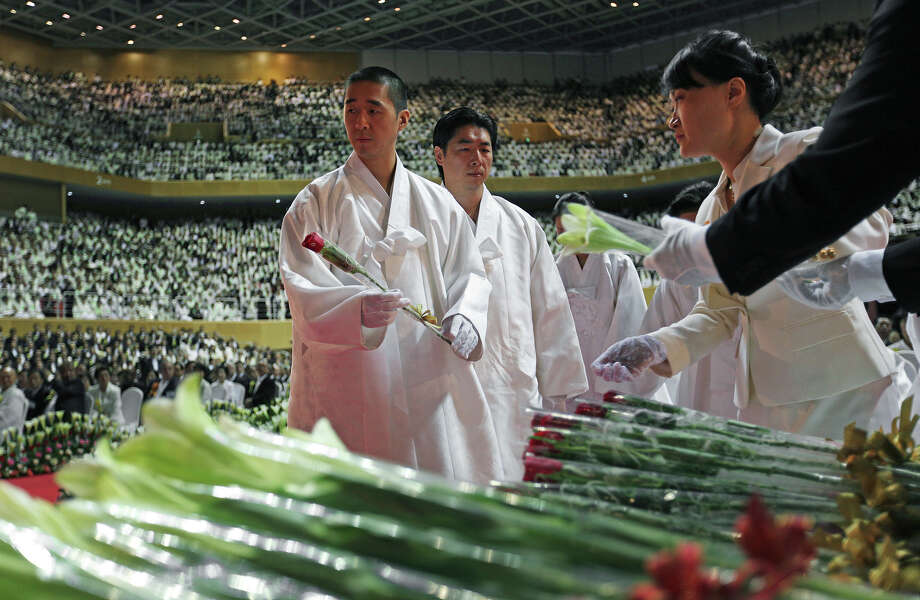 The Rev. Hyung-jin Moon, the youngest son of late Rev. Sun Myung Moon, attends his father's funeral at the CheongShim Peace World Center, Gapyeong, South Korea, Saturday, Sept. 15, 2012. Photo: Hye Soo Nah, Associated Press / AP