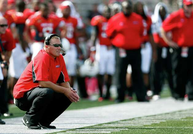 Maryland head coach Randy Edsall watches during the second half of an NCAA college football game against Connecticut in College Park, Md., Saturday, Sept. 15, 2012. Connecticut won 24-21. (AP Photo/Patrick Semansky) Photo: Patrick Semansky, Associated Press / AP
