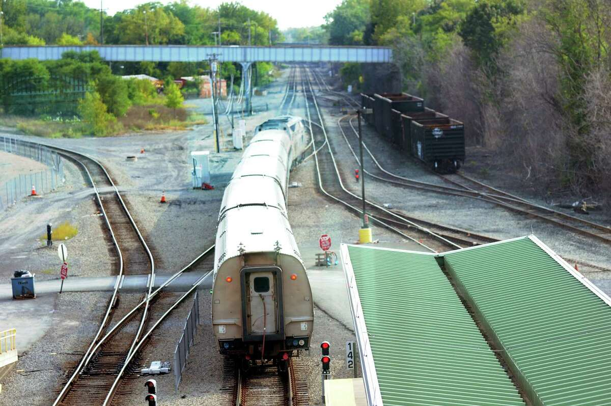 A train leaves the station on Friday, Sept. 14, 2012, at the Rensselaer Train Station in Rensselaer, N.Y. (Cindy Schultz / Times Union)