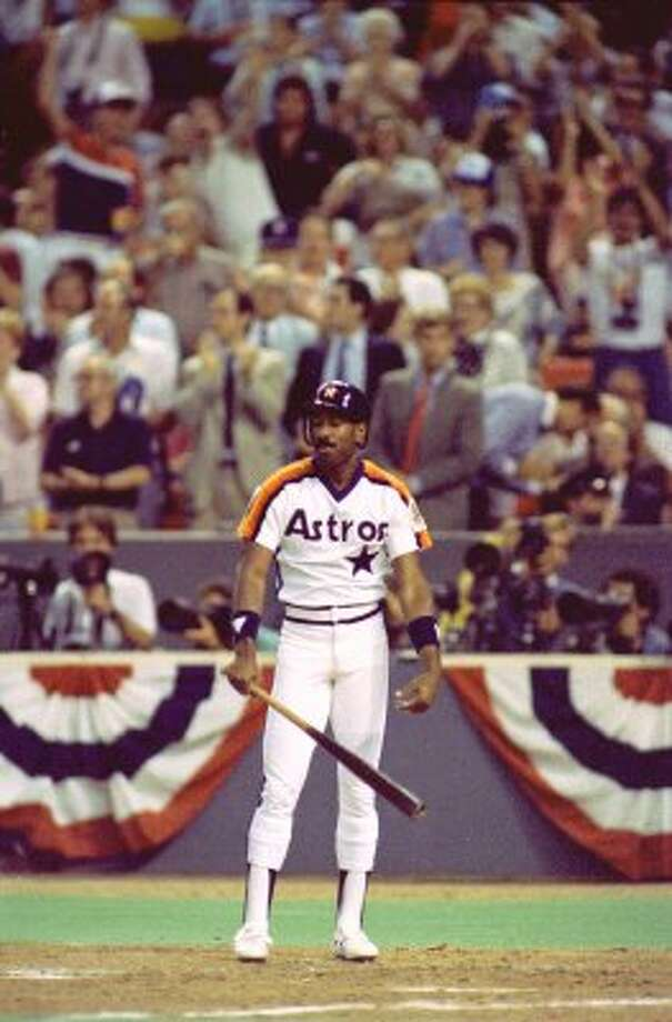 39. Kevin Bass, OF (1982-1989, 1993-1994).278/.330/.423 batting line with 87 HRs, 468 RBIs, 465 Rs, 120 SBs and 15.7 Wins Above Replacement in 1,122 games. Switch hitter made All-Star team and finished seventh in Most Valuable Player voting in 1986, hitting .311 with 20 HRs and 22 SBs. (Steve Campbell / Houston Chronicle)