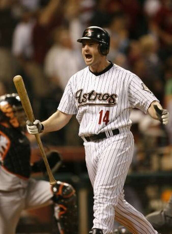 29. Morgan Ensberg, 3B (2007-2007).266/.367/.475 batting line with 105 HRs, 335 RBIs, 323 Rs, 22 SB and 12.2 Wins Above Replacement in 673 games. Was most productive everyday player on 2005 team that reached World Series, bashing 36 HRs, driving in 101 and finishing fourth in Most Valuable Player voting. (Kevin Fujii / Houston Chronicle)
