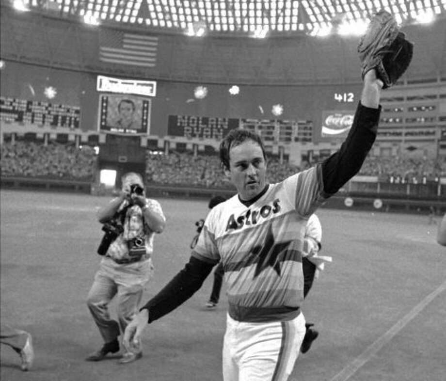 9. Nolan Ryan, RHP (1980-1988)106-94 with a 3.13 ERA in 1,854.2 IP, with 1,866 Ks, an ERA+ of 110 and 26.2 Wins Above Replacement. On top of giving the franchise boost of credibility when he signed as free agent after the 1979 season, led league in ERA twice (1981, 1987) and helped Astros capture two division titles. (TIM JOHNSON / Houston Chronicle)