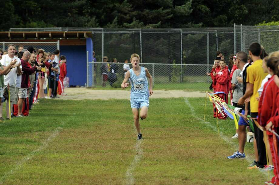 Kyle Gronostaj of Columbia High School wins the boy's varsity in the Springstead (Shaker) Invy high scholl cross country race at Colonie Town Park in  Colonie, NY Saturday Sept. 15, 2012. (Michael P. Farrell/Times Union) Photo: Michael P. Farrell