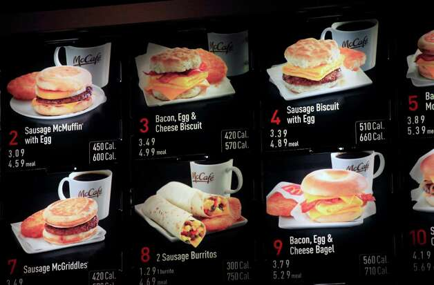 Recently McDonald's started displaying calorie information on restaurant and drive-thru menus nationwide, such as this New York McDonald's has for its breakfast menu (above). The move comes ahead of a regulation that could require major chains to post the information.