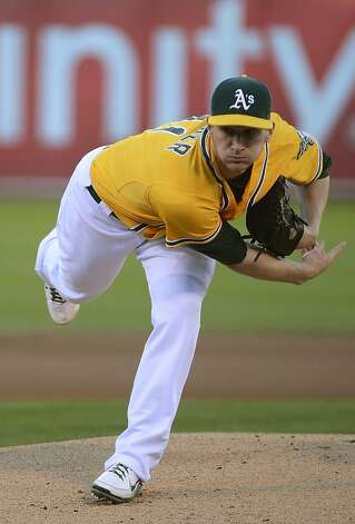 OAKLAND, CA - SEPTEMBER 15:  Jarrod Parker #11 of the Oakland Athletics pitches against the Baltimore Orioles at O.co Coliseum on September 15, 2012 in Oakland, California.  (Photo by Thearon W. Henderson/Getty Images) Photo: Thearon W. Henderson, Getty Images