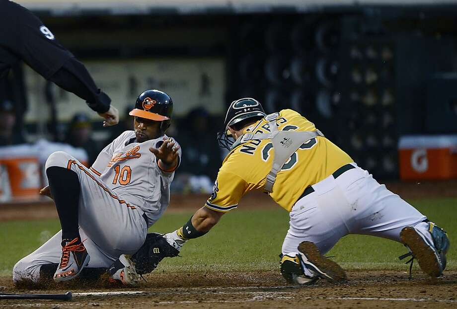 OAKLAND, CA - SEPTEMBER 15:  Adam Jones #10 of the Baltimore Orioles attempting to score from first base on a double gets tagged out at home by Derek Norris #36 of the Oakland Athletics in the fourth inning at O.co Coliseum on September 15, 2012 in Oakland, California.  (Photo by Thearon W. Henderson/Getty Images) Photo: Thearon W. Henderson, Getty Images