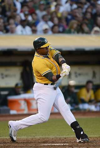 OAKLAND, CA - SEPTEMBER 15:  Yoenis Cespedes #52 of the Oakland Athletics hits an RBI single driving in Jonny Gomes #31 (not pictured) in the third inning against the Baltimore Orioles at O.co Coliseum on September 15, 2012 in Oakland, California.  (Photo by Thearon W. Henderson/Getty Images) Photo: Thearon W. Henderson, Getty Images