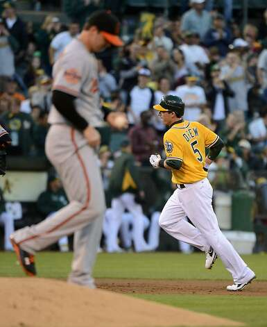 OAKLAND, CA - SEPTEMBER 15:  Stephen Drew #5 of the Oakland Athletics trots around the bases after hitting a solo home run as pitcher Zach Britton #53 of the Baltimore Orioles looks on in the third inning at O.co Coliseum on September 15, 2012 in Oakland, California.  (Photo by Thearon W. Henderson/Getty Images) Photo: Thearon W. Henderson, Getty Images