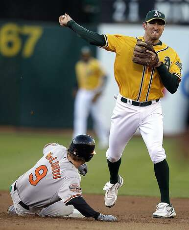 Oakland Athletics second baseman Adam Rosales, right, throws over Baltimore Orioles' Nate McLouth to complete a double play in the first inning of a baseball game on Saturday, Sept. 15, 2012, in Oakland, Calif. J.J. Hardy was out at first base. (AP Photo/Ben Margot) Photo: Ben Margot, Associated Press