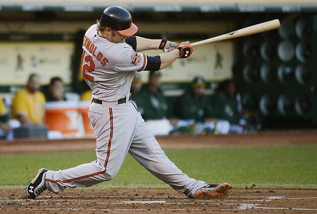 OAKLAND, CA - SEPTEMBER 15:  Mark Reynolds #12 of the Baltimore Orioles hits an RBI double driving in Adam Jones #10 (not pictured) in the second inning against the Oakland Athletics at O.co Coliseum on September 15, 2012 in Oakland, California.  (Photo by Thearon W. Henderson/Getty Images) Photo: Thearon W. Henderson, Getty Images