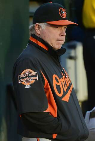 OAKLAND, CA - SEPTEMBER 15:  Manager Buck Showalter #26 of the Baltimore Orioles looks on in the second inning against the Oakland Athletics at O.co Coliseum on September 15, 2012 in Oakland, California.  (Photo by Thearon W. Henderson/Getty Images) Photo: Thearon W. Henderson, Getty Images
