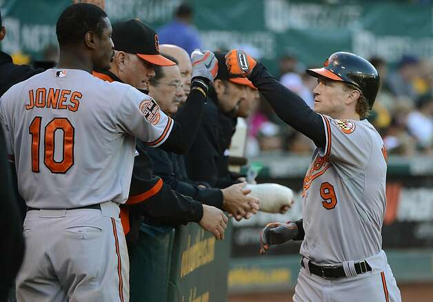 OAKLAND, CA - SEPTEMBER 15:  Nate McLouth #9 of the Baltimore Orioles is congratulated by Adam Jones #10 after McLouth hit a solo home run in the third inning against the Oakland Athletics at O.co Coliseum on September 15, 2012 in Oakland, California.  (Photo by Thearon W. Henderson/Getty Images) Photo: Thearon W. Henderson, Getty Images