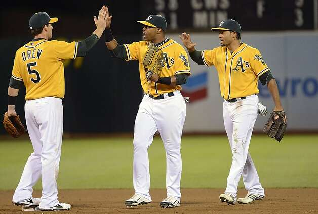 OAKLAND, CA - SEPTEMBER 15:  Stephen Drew #5, Yoenis Cespedes #52 and Coco Crisp #4 of the Oakland Athletics celebrates defeating the Baltimore Orioles 5 to 2 at O.co Coliseum on September 15, 2012 in Oakland, California.  (Photo by Thearon W. Henderson/Getty Images) Photo: Thearon W. Henderson, Getty Images