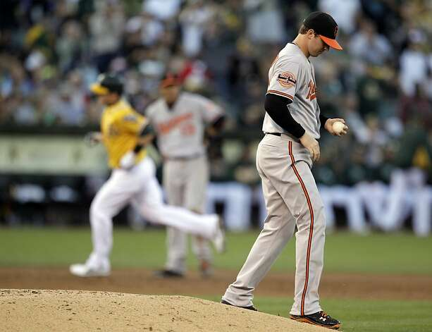 Baltimore Orioles' Zach Britton, right, turns his back as Oakland Athletics' Stephen Drew rounds the bases after Drew hit a home run off Britton in the third inning of a baseball game Saturday, Sept. 15, 2012, in Oakland, Calif. (AP Photo/Ben Margot) Photo: Ben Margot, Associated Press