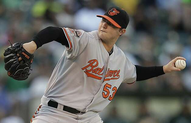 Baltimore Orioles' Zach Britton works against the Oakland Athletics in the first inning of a baseball game on Saturday, Sept. 15, 2012, in Oakland, Calif. (AP Photo/Ben Margot) Photo: Ben Margot, Associated Press