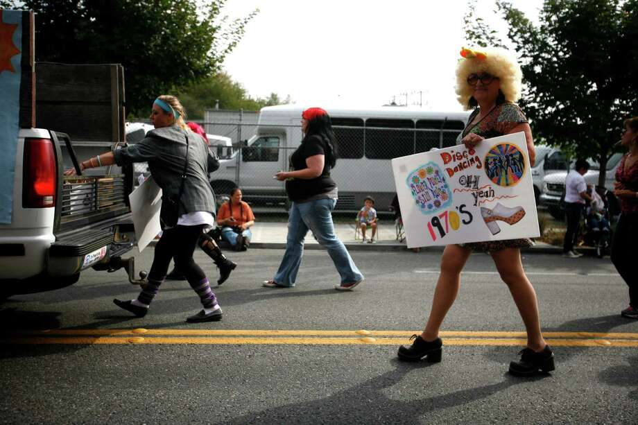 Christy Potter is shown dressed as a disco dancer. Photo: Sofia Jaramillo / SEATTLEPI.COM