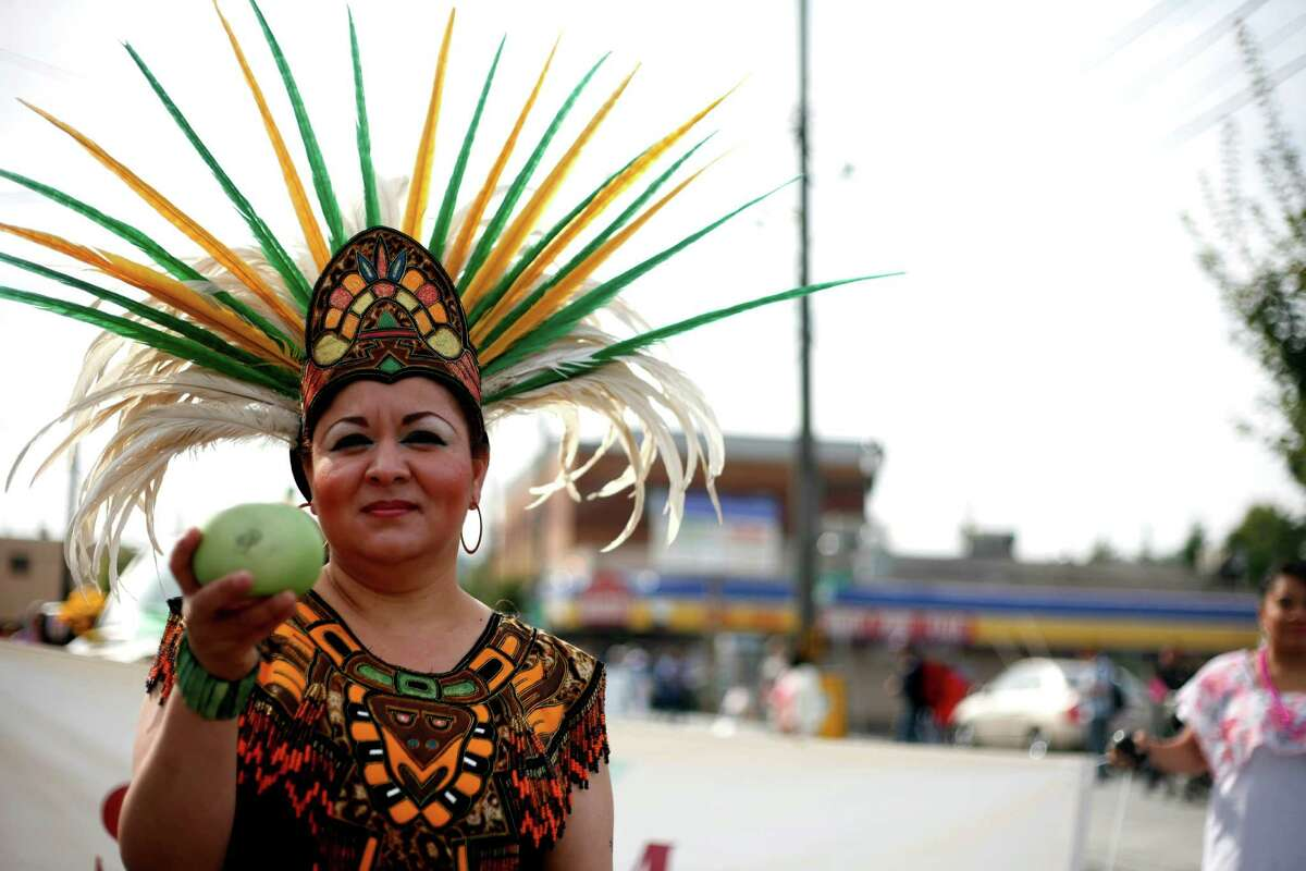 Evangelina Chavez is shown wearing a traditional Mayan outfit during the Fiestas Patrias Celebration Parade in Seattle's South Park neighborhood on Saturday, Sept. 15, 2012. Fiestas Patrias is an annual cultural celebration that commemorates the independence of Mexico and other Latin American countries.