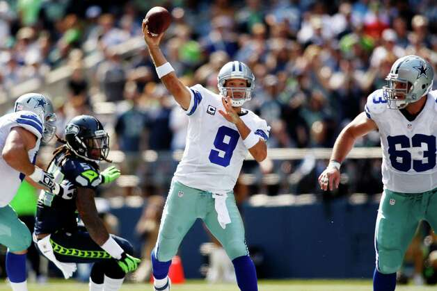 Dallas Cowboys quarterback Tony Romo throws against the Seattle Seahawks in the first half of an NFL football game, Sunday, Sept. 16, 2012, in Seattle. (AP Photo/John Froschauer) Photo: John Froschauer, Associated Press / FR74207 AP