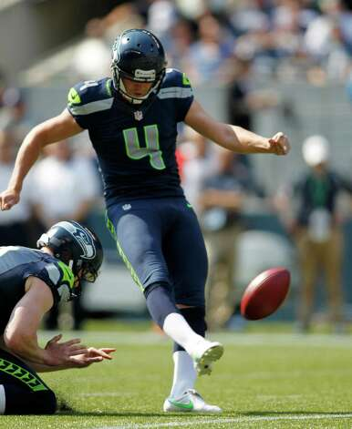 Seattle Seahawks' Steven Hauschka kicks a field goal against the Dallas Cowboys in the first half of an NFL football game, Sunday, Sept. 16, 2012, in Seattle. (AP Photo/John Froschauer) Photo: John Froschauer, Associated Press / FR74207 AP