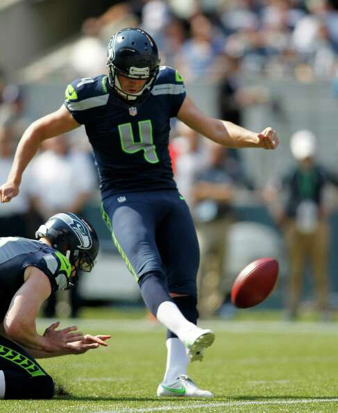 Seattle Seahawks' Steven Hauschka kicks a field goal against the Dallas Cowboys in the first half of
