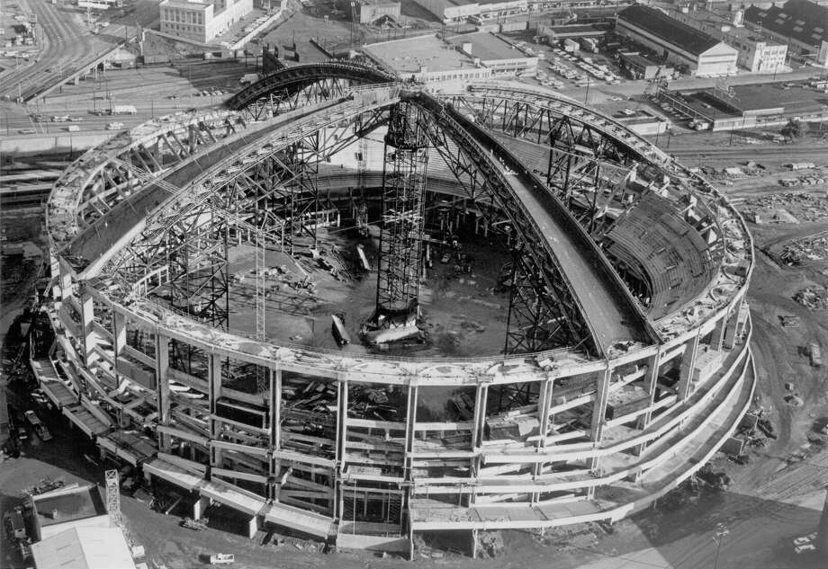 The Kingdome under construction, 1974. (P-I file)