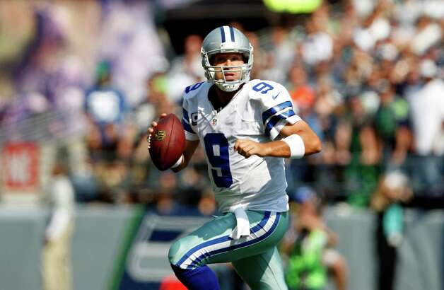 Dallas Cowboys quarterback Tony Romo looks to throw against the Seattle Seahawks in the second half of an NFL football game, Sunday, Sept. 16, 2012, in Seattle. Seattle defeated Dallas 27-7.(AP Photo/Kevin P. Casey) Photo: Kevin P. Casey, Associated Press / FR132181 AP