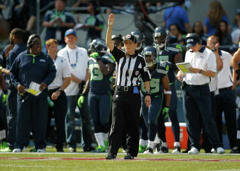 NFL official Shannon Eastin on the field against the Dallas Cowboys Seattle Seahawks in the first ha