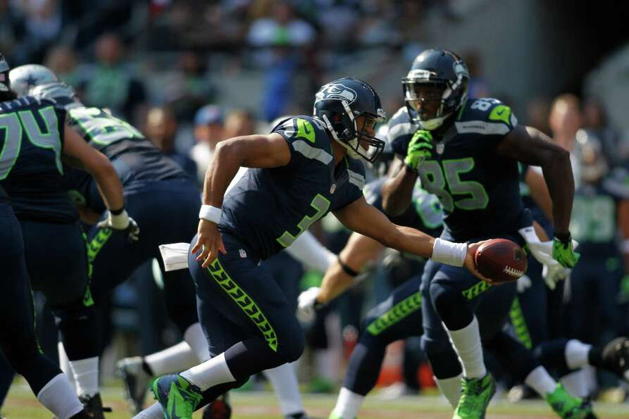 Seattle Seahawks quarterback Russell Wilson in the first half of an NFL football game against Dallas