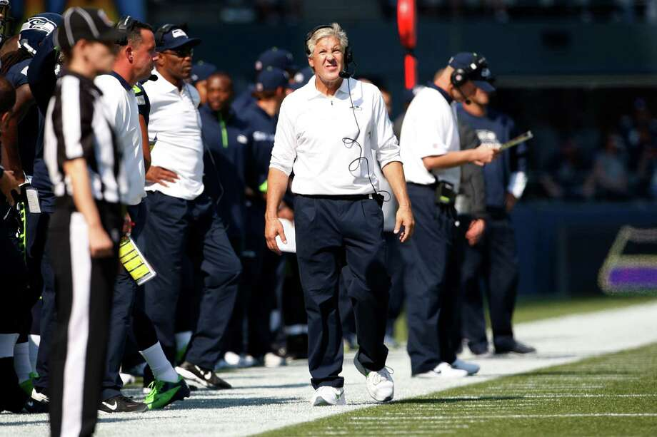 Seattle Seahawks head coach Pete Carroll on the sidelines against the Dallas Cowboys in the first half of an NFL football game, Sunday, Sept. 16, 2012, in Seattle. Photo: AP