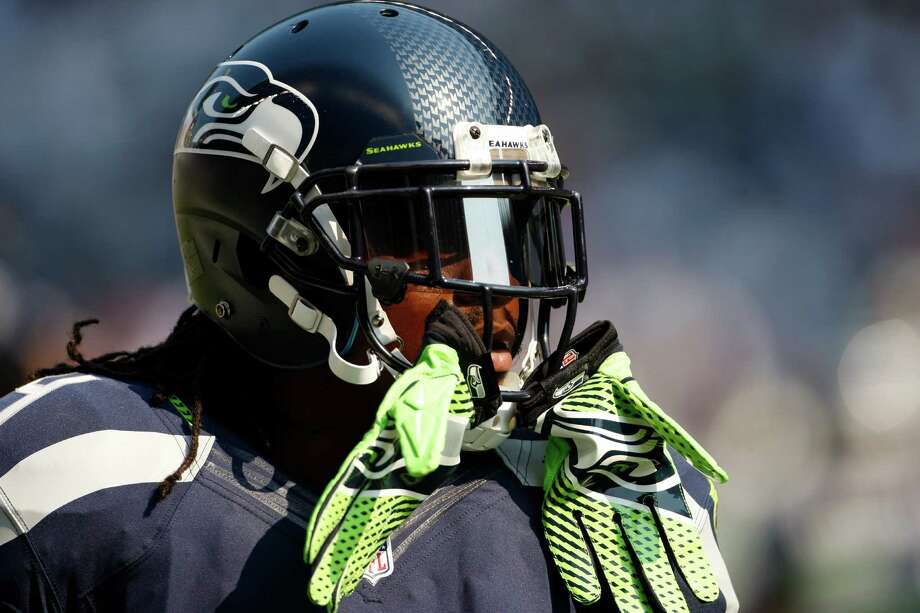 Seattle Seahawks' Marshawn Lynch before an NFL football game against the Dallas Cowboys, Sunday, Sept. 16, 2012, in Seattle. Photo: AP