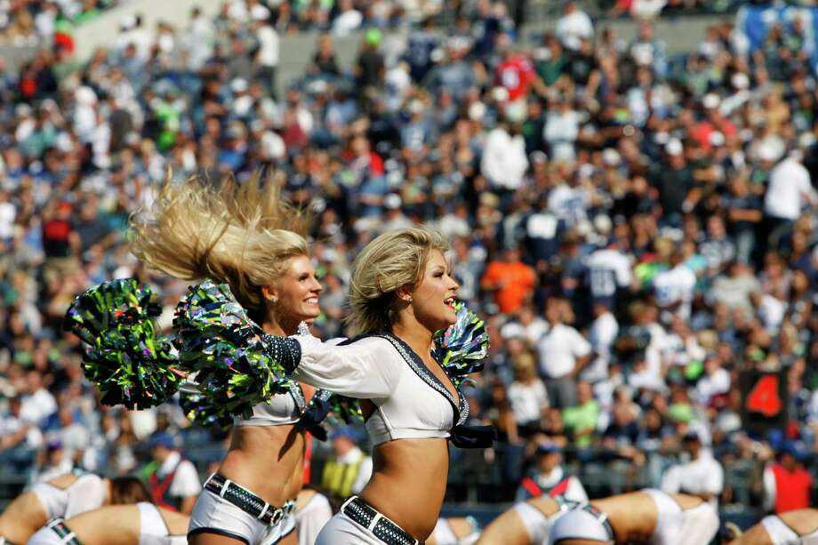 Seattle Seahawks cheerleaders perform on the field against the Dallas Cowboys in the first half of an NFL football game, Sunday, Sept. 16, 2012, in Seattle. Photo: AP