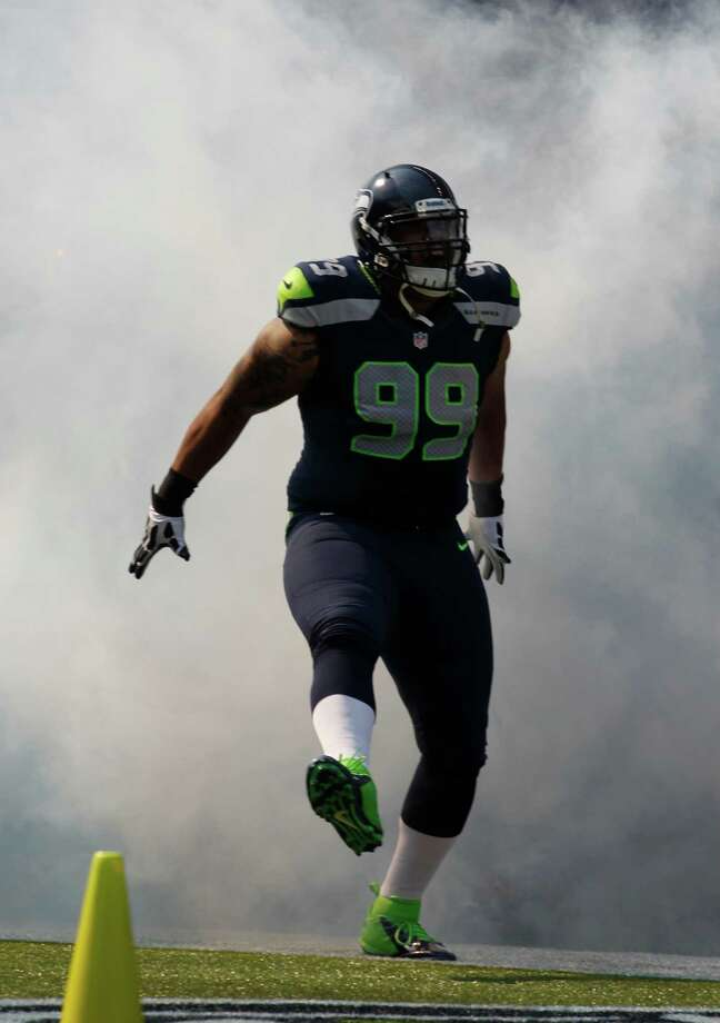 Seattle Seahawks Alan Branch comes out of the tunnel before the first half of an NFL football game against the Dallas Cowboys, Sunday, Sept. 16, 2012, in Seattle. Photo: AP