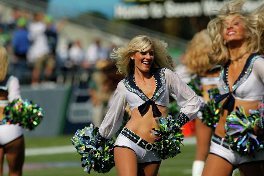 Seattle Seahawks cheerleaders in action  before an NFL football game against the Dallas Cowboys, Sunday, Sept. 16, 2012, in Seattle. Photo: AP