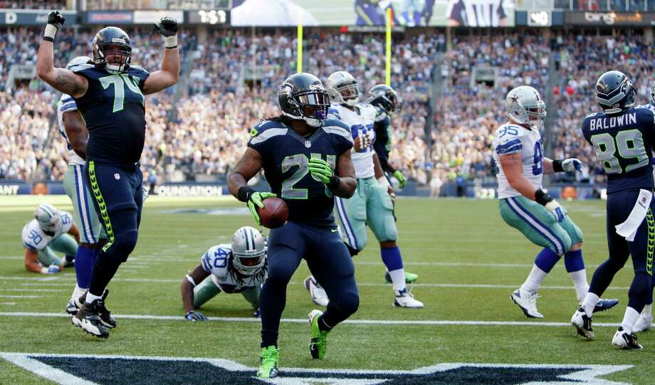 Seattle Seahawks' Marshawn Lynch scores against the Dallas Cowboys in the second half of an NFL football game on Sunday, Sept. 16, 2012, in Seattle. The Seahawks won 27-7. Photo: AP