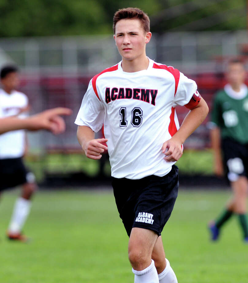 Academy's Jordan Newton (19) during their soccer game against Ravena on Saturday, Sept. 15, 2012, at Albany Academy in Albany, N.Y. (Cindy Schultz / Times Union) Photo: Cindy Schultz / 00019241A
