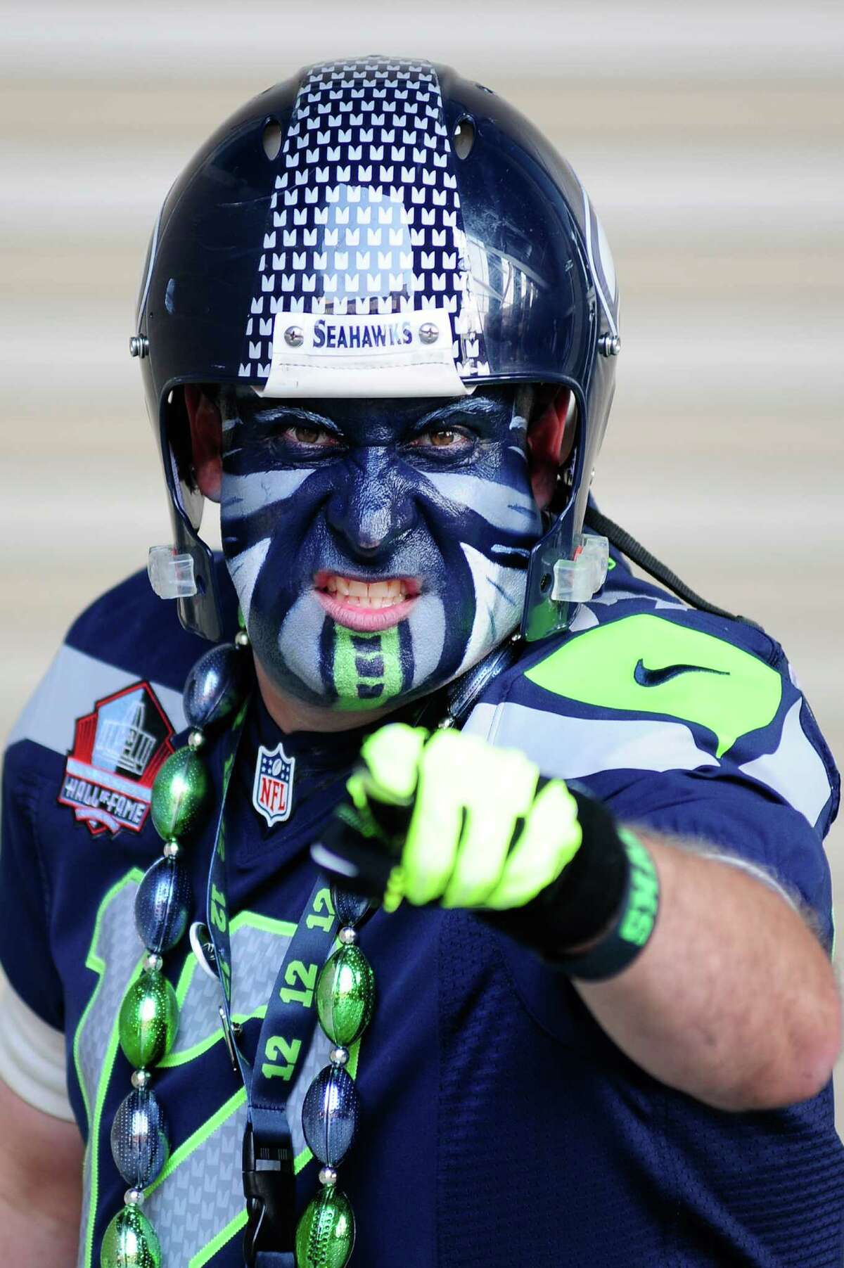 Brad Carter of Federal Way gives his best game face outside CenturyLink Field before the Seahawks vs Cowboys game on Sunday, September 16, 2012. The Seahawks, playing to a crowd of 68,000, won easily with a score of 7-27.