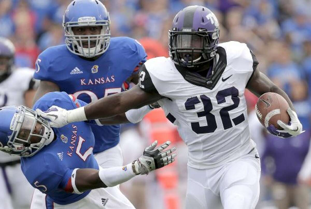 TCU's leading rusher, Waymon James, will be lost for the season after sustaining a knee injury in the Horned Frogs' Big 12-opening victory at Kansas last week. (Charlie Riedel / Associated Press)