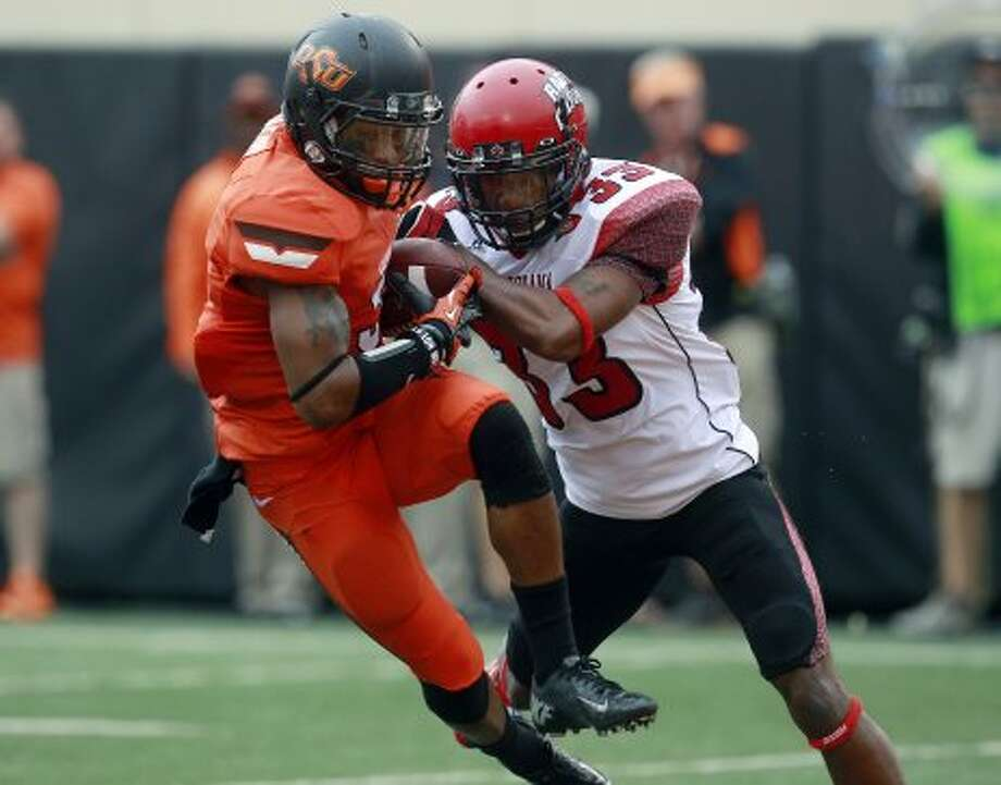 Josh Stewart, Oklahoma State, 9 catches, 104 yards, 2 TDs. (Sue Ogrocki / Associated Press)